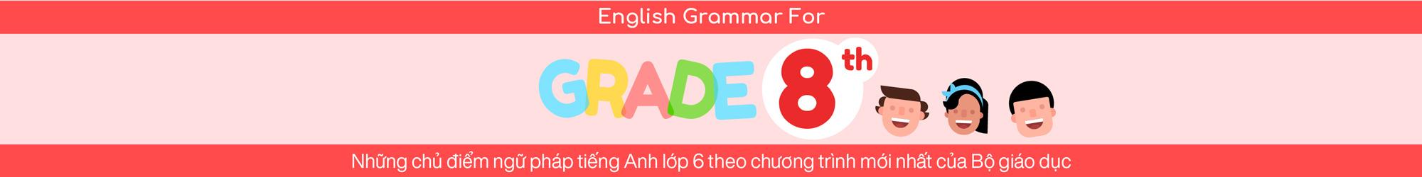 ENGLISH GRAMMAR FOR 8TH GRADE banner