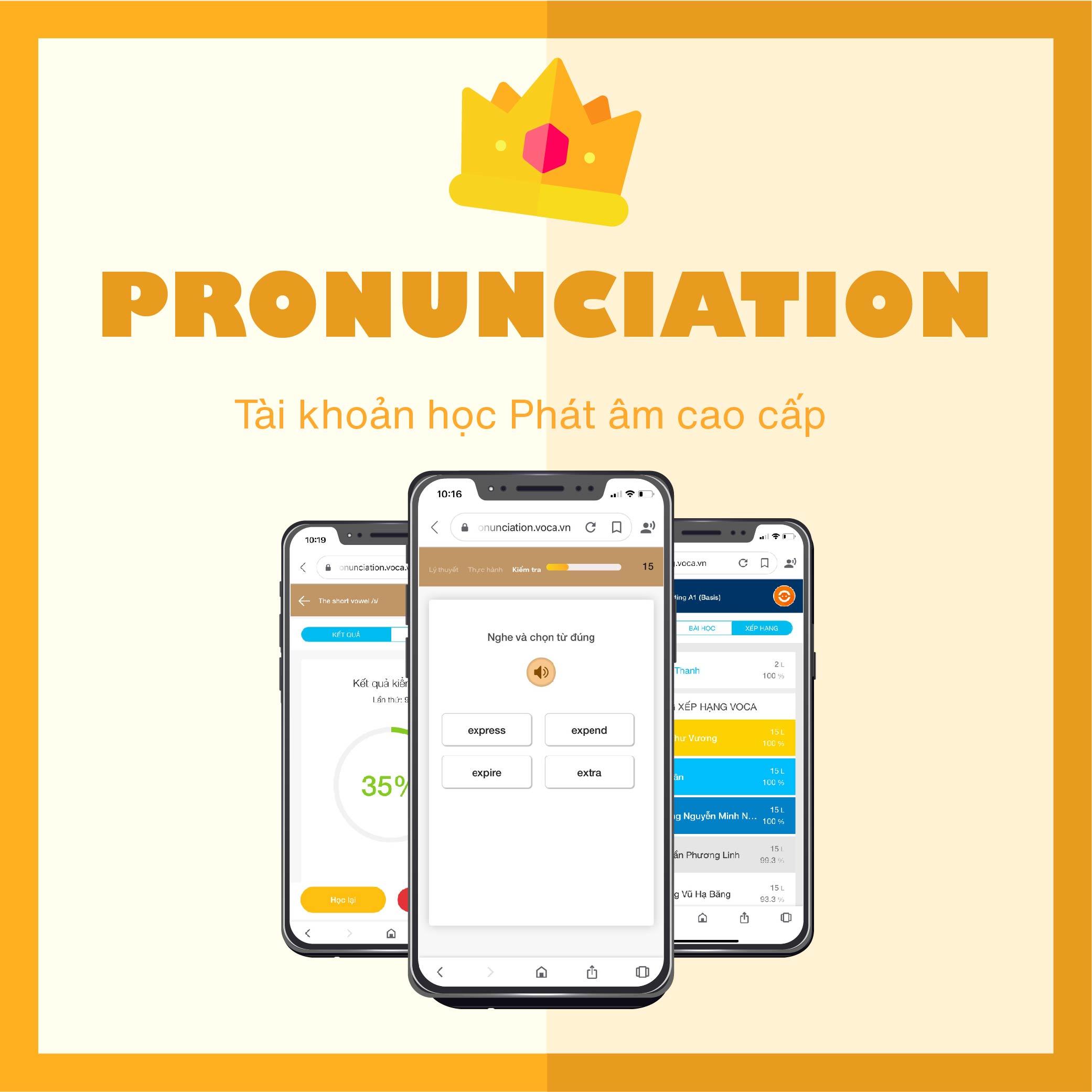 PRONUNCIATION VIP: Tài khoản học Phát âm tiếng Anh- Người học sẽ được tiếp cận phát âm theo cách tự nhiên nhất – như một đứa trẻ – bắt đầu bằng việc nghe và quan sát, kết hợp cùng hướng dẫn chi tiết cách phát âm và kết thúc bằng việc thực hành.