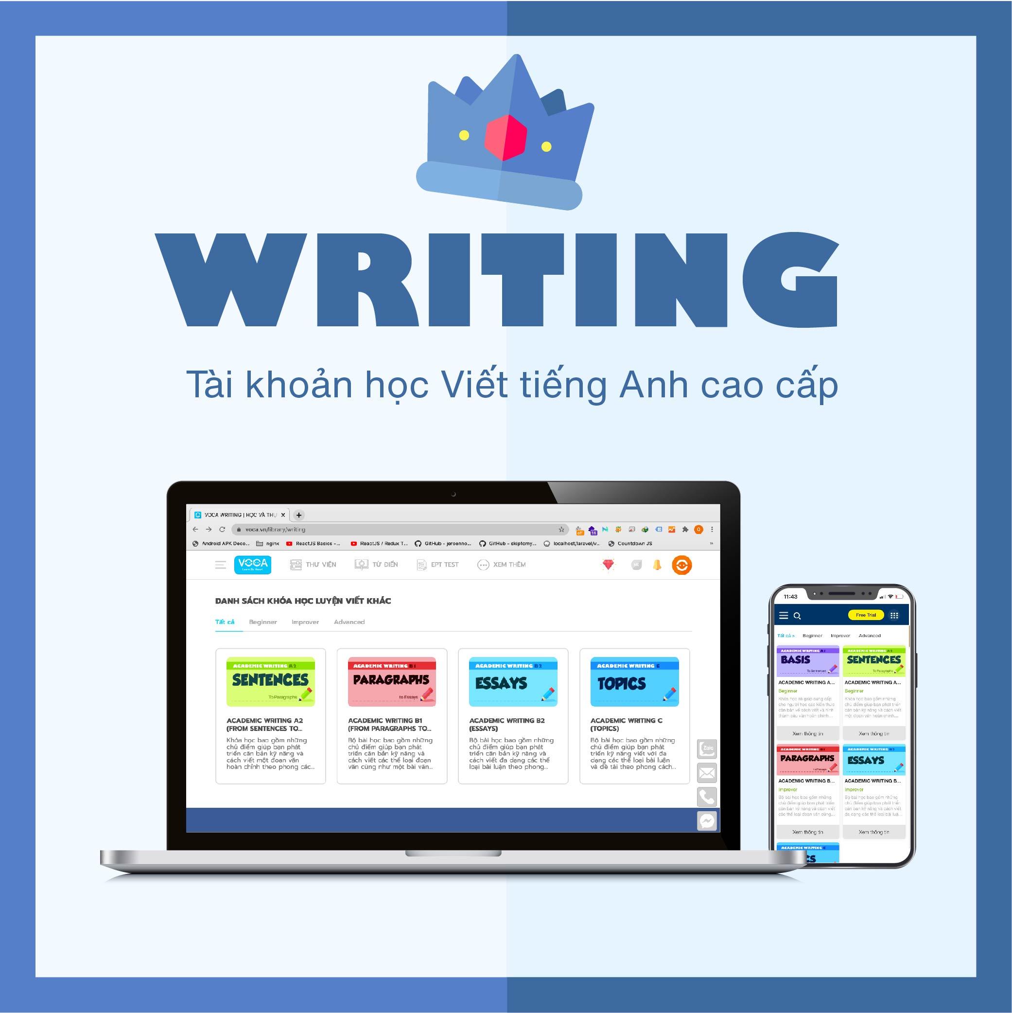 WRITING VIP: Tài khoản Luyện kỹ năng viết tiếng Anh theo phong cách học thuật (Academic Writing) - Hơn 8+ khoá học luyện viết tiếng Anh cao cấp. Hỗ trợ đa nền tảng (Máy tính, Smartphone)